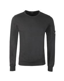 C.P. Company Mens Black Viewfinder Sleeve Crew Sweat