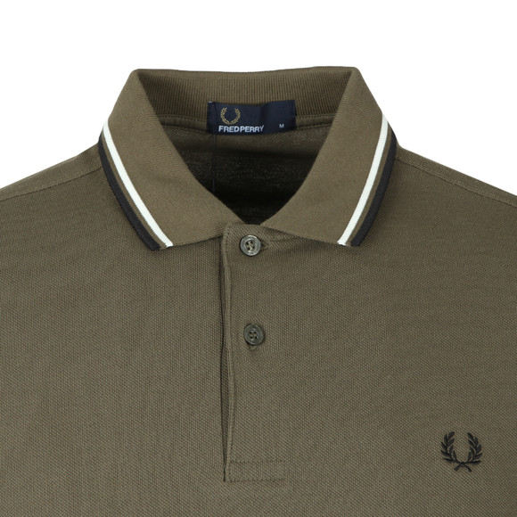 Fred Perry Mens Green Twin Tipped Polo Shirt main image