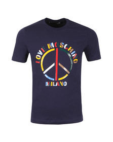 Love Moschino Mens Blue Multi Colour Peace Logo T Shirt