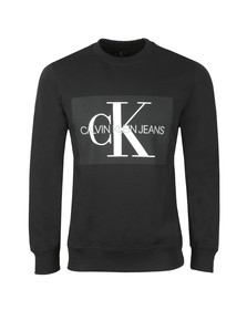 Calvin Klein Jeans Mens Black Monogram Logo Sweat