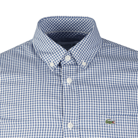 Lacoste Mens Blue S/S CH0470 Gingham Check Shirt main image