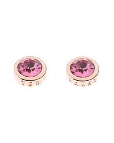 Ted Baker Womens Pink Rose Gold Sinaa Crystal Stud Earrings