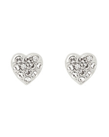 Ted Baker Womens Silver Primm Pave Crystal Heart Earring