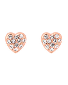Ted Baker Womens Pink Rose Gold Primm Pave Crystal Heart Earring