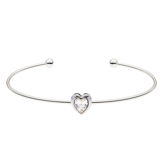 Ted Baker Womens Silver Hasina Crystal Heart Cuff