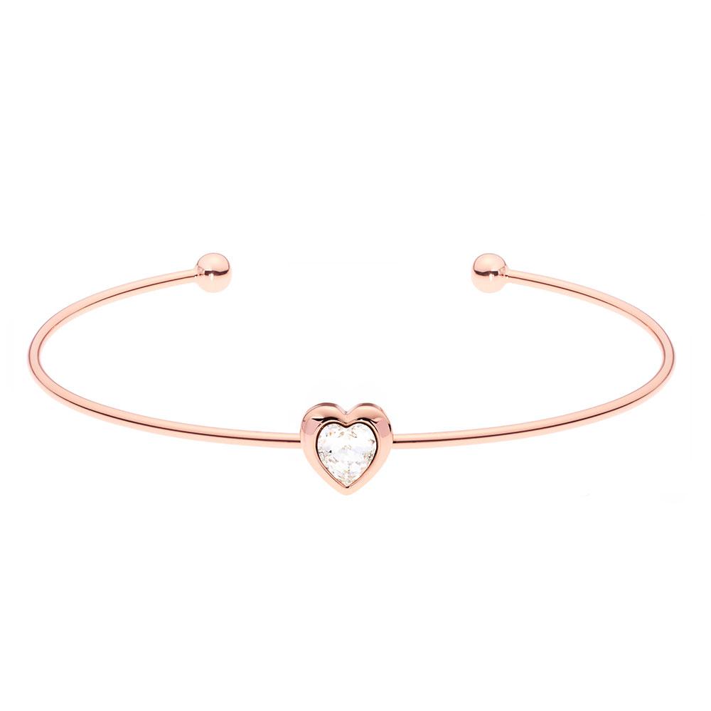 Rose Gold Hasina Crystal Heart Cuff main image