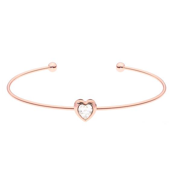 Ted Baker Womens Pink Rose Gold Hasina Crystal Heart Cuff main image