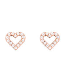 Ted Baker Womens Pink Rose Gold Edvinea Enchanted Heart Stud Earring