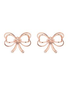 Ted Baker Womens Pink Rose Gold Lakia Heart Bow Stud Earring