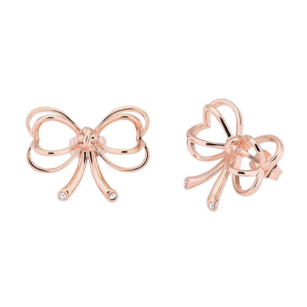 Rose Gold Lakia Heart Bow Stud Earring main image