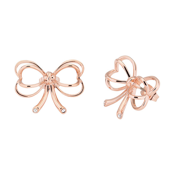 Ted Baker Womens Pink Rose Gold Lakia Heart Bow Stud Earring main image