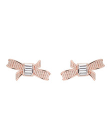 Ted Baker Womens Pink Rose Gold Deljcia Ribbon Bow Stud Earring