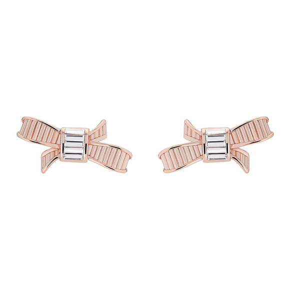 Ted Baker Womens Pink Rose Gold Deljcia Ribbon Bow Stud Earring main image
