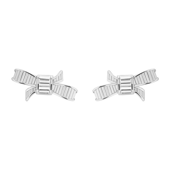Ted Baker Womens Silver Deljcia Ribbon Bow Stud Earring main image
