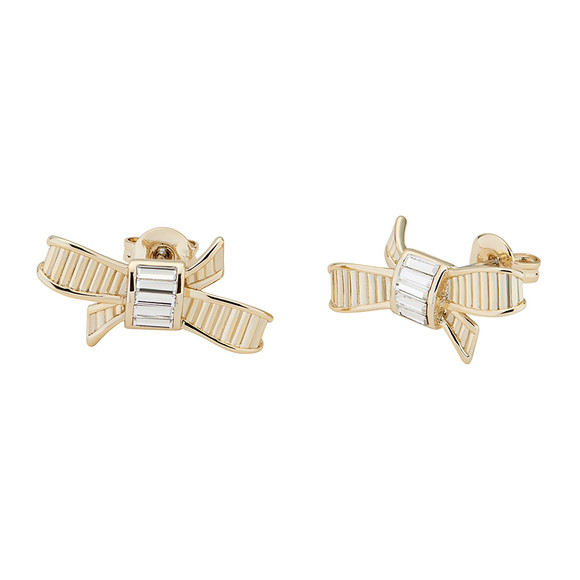 Ted Baker Womens Gold Deljcia Ribbon Bow Stud Earring main image