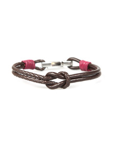 Ted Baker Mens Red Knotted Leather Bracelet