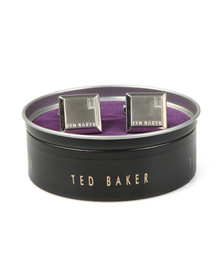 Ted Baker Mens Silver Contrast Square Cufflink
