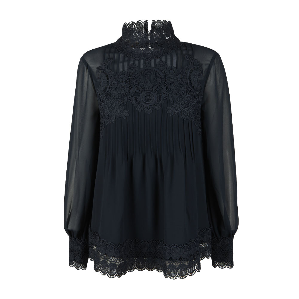 Cailley Lace Pintuck High Neck Long Sleeve Top main image