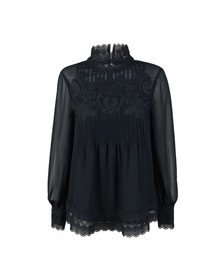 Ted Baker Womens Blue Cailley Lace Pintuck High Neck Long Sleeve Top