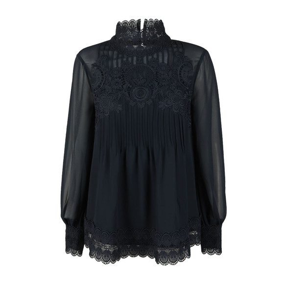 Ted Baker Womens Blue Cailley Lace Pintuck High Neck Long Sleeve Top main image