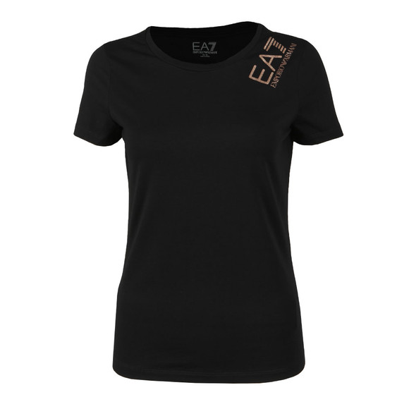 EA7 Emporio Armani Womens Black Glitter Shoulder Logo T Shirt main image