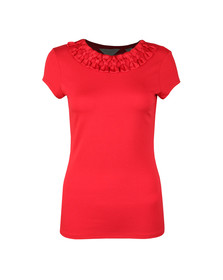 Ted Baker Womens Red Charre Bow Neck Trim Detail Tee
