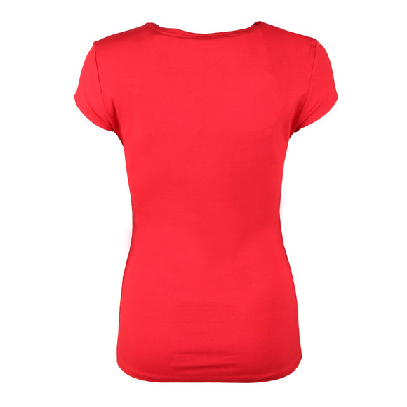 Ted Baker Womens Red Charre Bow Neck Trim Detail Tee main image