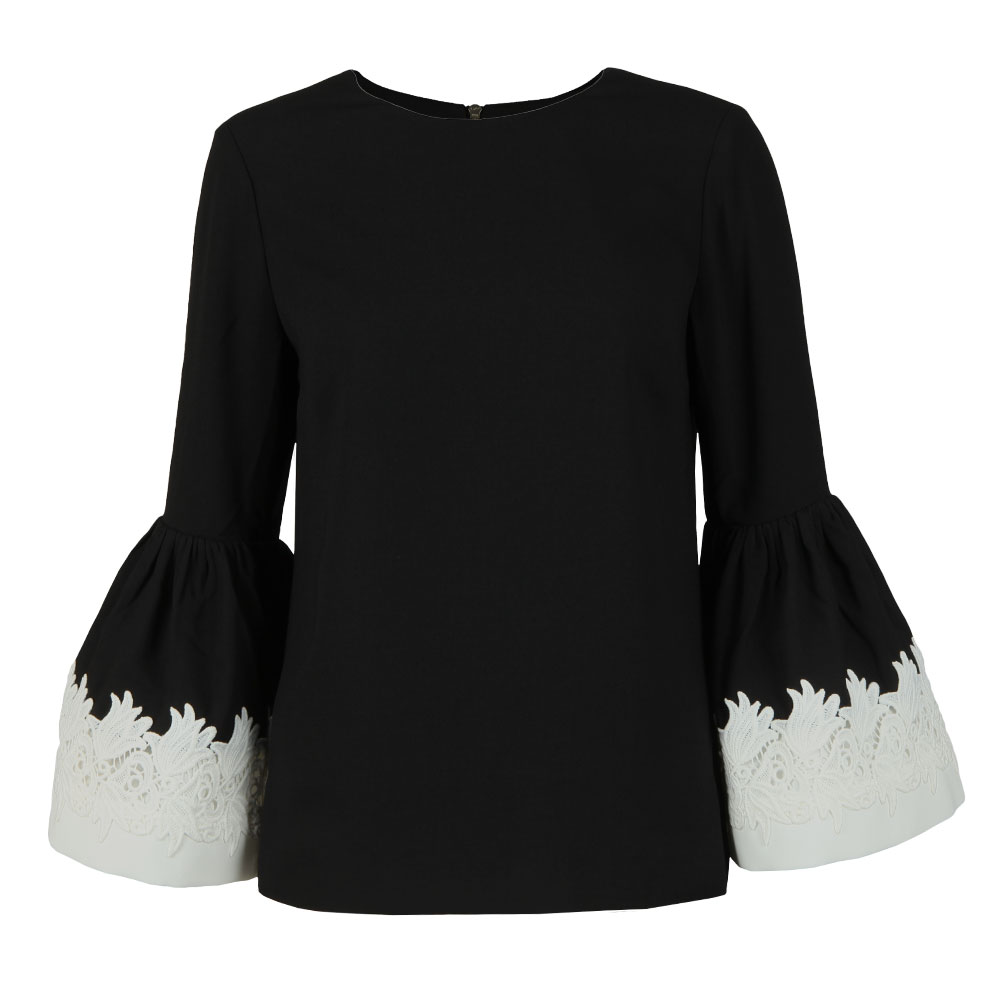 Amonie Fluted Long Sleeve Lace Trim Top main image