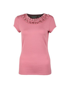 Ted Baker Womens Pink Charre Bow Neck Trim Detail Tee