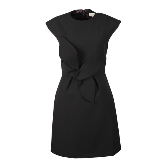 Ted Baker Womens Black Ppollyd Cap Sleeve Structured Bow Dress main image