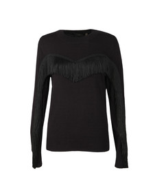 Ted Baker Womens Black Aniebal Fringe and Ruffle Jumper