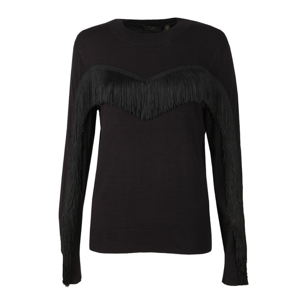 Ted Baker Womens Black Aniebal Fringe and Ruffle Jumper main image