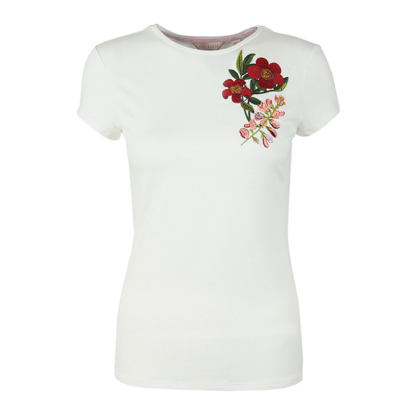 Ted Baker Womens Off-White Laylar Kirstenbosch Fitted Tee main image