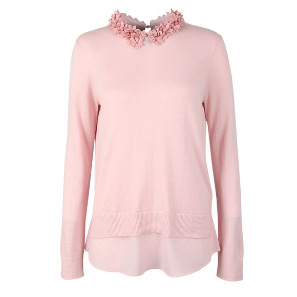 Ted Baker Womens Pink Nansea Floral Collar Mockable Jumper main image