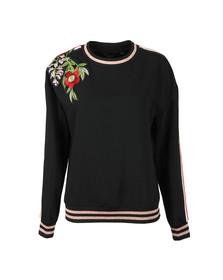 Ted Baker Womens Black Maddeyy Embroidered Trim Sweater