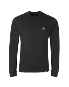 Pretty Green Mens Black Loopback Cotton Crew Neck Sweat