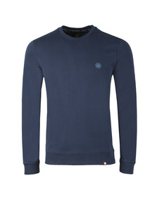 Pretty Green Mens Blue Loopback Cotton Crew Neck Sweat