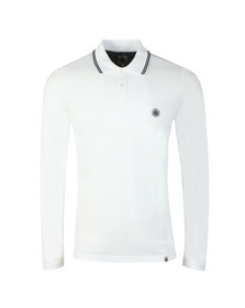 Pretty Green Mens White Long Sleeve Tipped Pique Polo