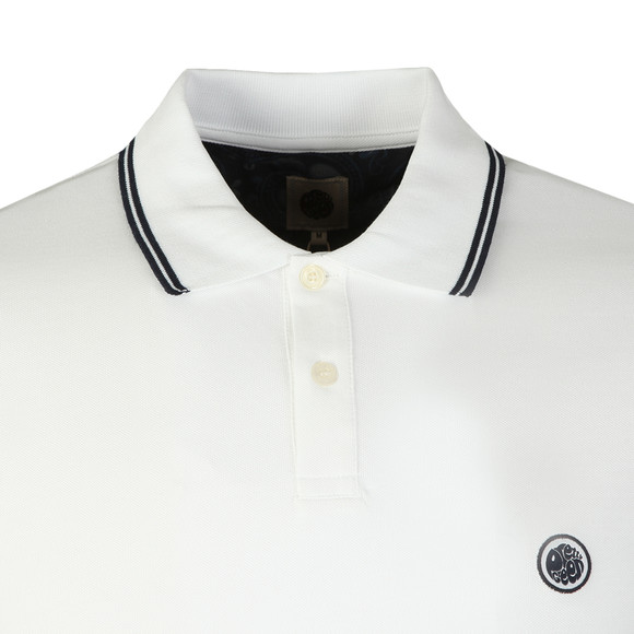Pretty Green Mens White Long Sleeve Tipped Pique Polo main image