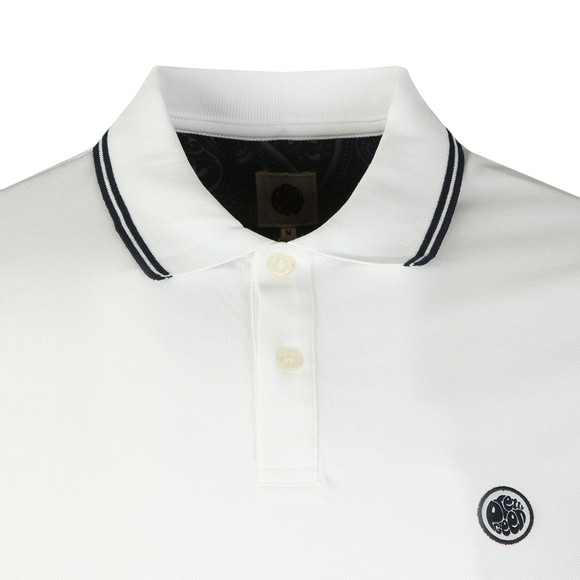 Pretty Green Mens White Tipped Pique Polo Shirt main image