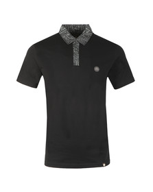 Pretty Green Mens Black Paisley Print Collar Polo