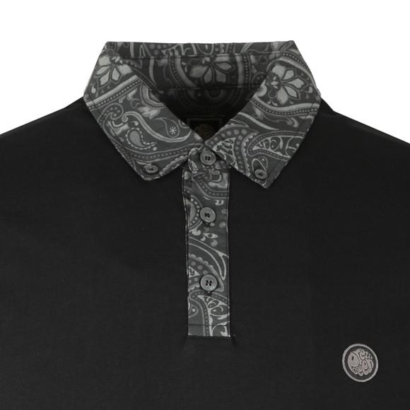 Pretty Green Mens Black Paisley Print Collar Polo main image