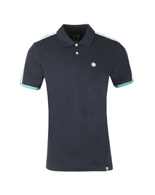 Pretty Green Mens Blue Contrast Panel Polo Shirt