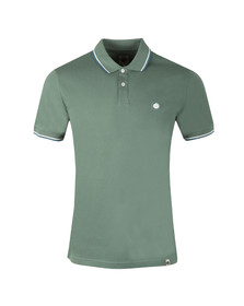 Pretty Green Mens Green Tipped Pique Polo Shirt