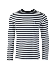 Pretty Green Mens Blue Long Sleeve Striped T-Shirt