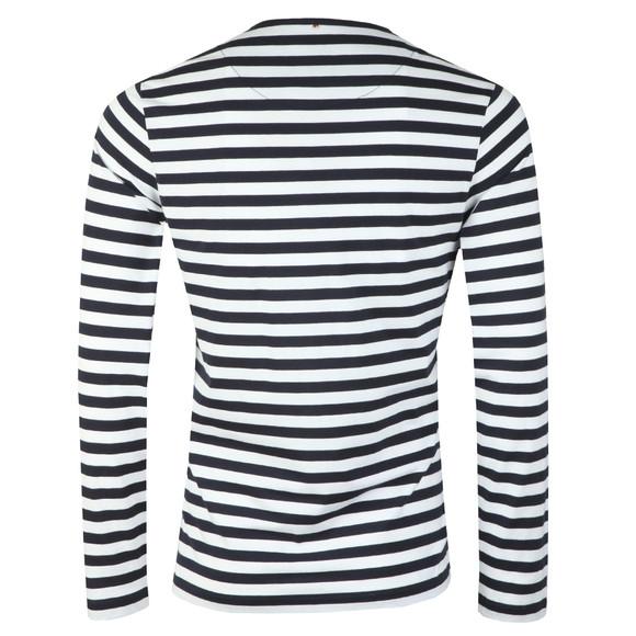 Pretty Green Mens Blue Long Sleeve Striped T-Shirt main image