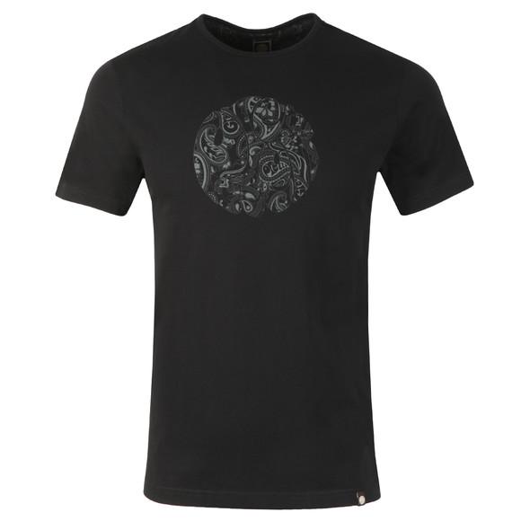 Pretty Green Mens Black Paisley Print Logo T-Shirt main image