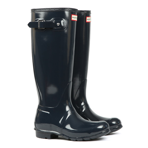 Hunter Womens Blue Original Gloss Wellington main image