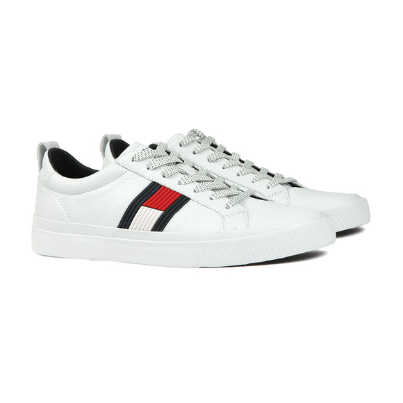 Tommy Hilfiger Mens White Leather Trainer main image