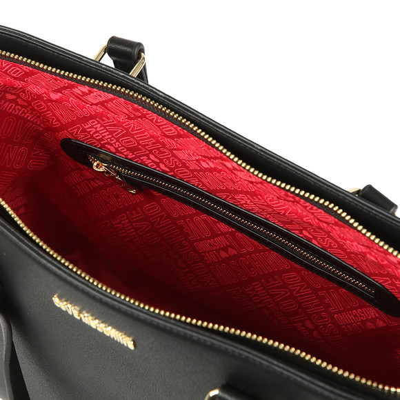 Love Moschino Womens Black Borsa Pin Grain PU Bag main image